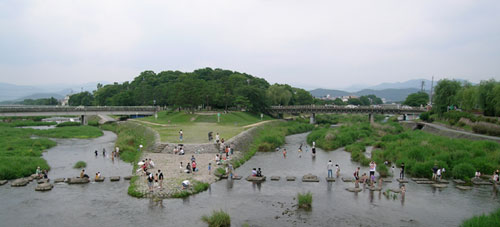 Kamogawa river in summer