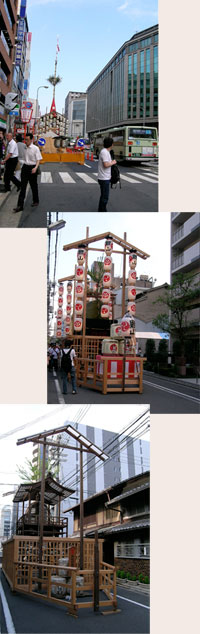 early stage of constructing the Gion Matsuri floats