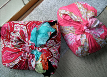 furoshiki wrapped bundles of newly purchased kimono