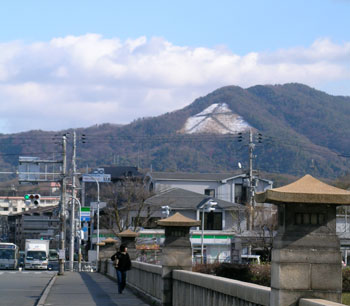 Kyoto daimonji with a dusting of snow