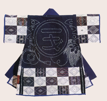 A child's kimono with sashiko embroidery