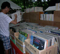 Old jazz LPs at the used book fair at Shimogamo shrine, Kyoto