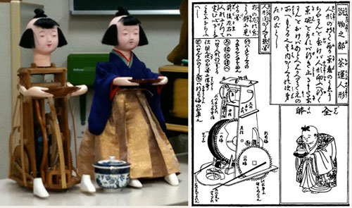 tea serving doll of the edo period with construction diagram