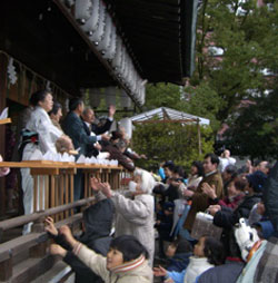 bean-throwing at Shiramine shrine during Setsubun
